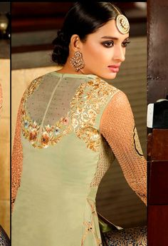 Green Embroidered Designer Partywear Straight by FashionsByIndia