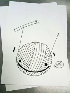 """""""obey crochet"""" hooker hook craft drawing yarn doodle"""