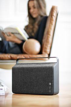 GORGEOUS! Copenhagen wireless speaker by Vifa. Comes in a selection of fabrics from Kvadrat.