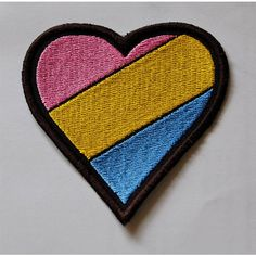 Pansexual Pride Rainbow Flag Heart embroidered patch badge ($7.39) ❤ liked on Polyvore featuring accessories