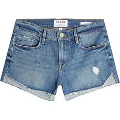 Frame Denim Le Cutoff Tulip Denim Shorts ($245) ❤ liked on Polyvore featuring shorts, bottoms, denim, blue, short jean shorts, cut-off jean shorts, summer shorts, cutoff shorts and blue shorts