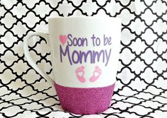 Mommy Mug, Mommy to Be, Soon To Be Mom, Mom Glitter Mug, Pregnancy Gift, It's a Girl,Future Mom,Mom to Be Gift, New Baby Gift, Baby on Board