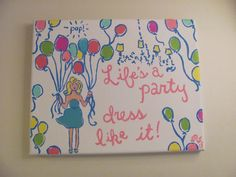 Lilly Pulitzer Inspired Pop HandPainted Canvas by SailBows on Etsy