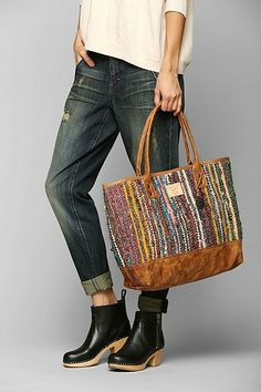 Will Leather Goods Silk Rag Rug Tote Bag - love the colors