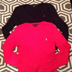 Polo Bundle Polo Bundle, size M, one pink crewneck Longsleeve shirt, one Navy V-neck sweater. Polo by Ralph Lauren Tops Tees - Long Sleeve