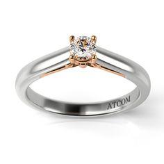 Inel de logodna cu diamant Beckham din aur alb cu roz