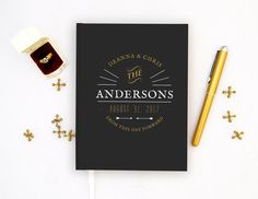 Wedding Guest Book Personalized Gold Guest by PrintCafeGuestBooks