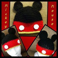 Mickey Mouse Crochet Beanie Crochet hat Crochet by AJsStitches19