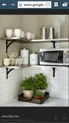 White kitchen with open shelving small kitchen shelves keep it out of the way with this Kitchen Corner, Kitchen Remodel, Open Kitchen Shelves, Kitchen Decor, Interior Design Kitchen, New Kitchen, Diy Kitchen, Kitchen Design, Shelving
