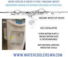 AWESOME WATER CUP HOLDER SHORT CUP DISPENSER EASY INSTALLATION SCREW BOTTOM PLATE & MAGNET BOTTOM PLATE IS INTERCHANGEABLE. ANTI BACTERIAL MATERIAL PROTECTION SHIELD TRANSPARENT WINDOW FOR OPTIMUM VIEW HOLDS UP TO 50 CUPS Double Swing, Water Coolers, Water Filter, Hold On, Cups, Window, Plates, Awesome, Easy
