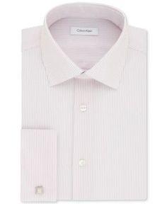 Calvin Klein Men's Steel Classic/Regular Fit Non-Iron Performance Rose Stripe French Cuff Dress Shirt - Pink 1