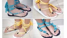 DIY: Remake flip flops into cute sandals (skip to to avoid the preliminary Brazilian chit chat) Flip Flops Diy, Flip Flop Craft, Crochet Sandals, Crochet Shoes, Cute Sandals, Flip Flop Sandals, Bare Foot Sandals, Gladiator Sandals, Paula Stephania