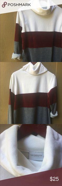 "Liz Claiborne Turtle Neck Sweater Liz Claiborne Turtle Neck Sweater Long Sleeve with block color pattern. •Brand: Liz Claiborne. •Fabric: 64% cotton 36% polyester. •Color: White, Gray, Burgundy.  •Size: Medium. Bust 44"" Length 28.5"". •Excellent condition. •Next Day Shipping ! Liz Claiborne Sweaters Crew & Scoop Necks"
