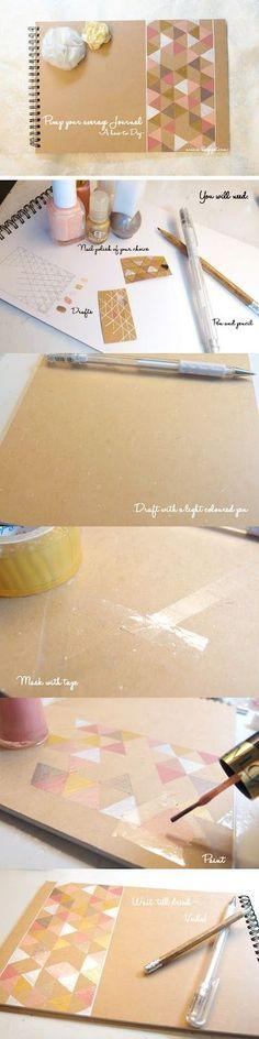 いらなくなったマニキュアを使って。セロハンテープでマスキングしながら色を塗っていくと均一に描けます。