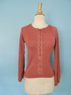Vintage Pointelle Knit sweater S Xs extra small Beewear Mauve shirt top blouse #Beewear #Everyday