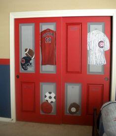 Closet of lockers!, This sports room was created for a very athletic boy, whos father loves Chicago! I painted typical closet doors to look like red sports lockers with balls and jerseys inside. Painted Closet, Closet Paint, Sports Locker, Boys Closet, Closet Space, Boys Room Design, Baby Boy Rooms, Kids Rooms, Closet Doors