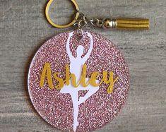 Ballet Glitter Acrylic Key Chain - Custom Dance Acrylic Keychain - Gift for Her - Team Gift - Personalized Keychain Monogram Keychain, Keychain Design, Diy Keychain, Keychain Ideas, Team Gifts, Coach Gifts, Locker Decorations, Acrylic Keychains, Senior Gifts