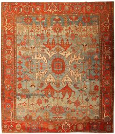 Persian Rug Design Identification by Color | Heriz|Serapi Rug | Antique Persian Carpet | 43719 by Nazmiyal