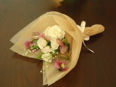 WHITE Tissue paper, WITH blue n purple flowers and babys breath