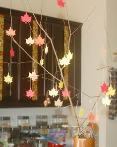 The Tree of Thanks (from In Lieu of Preschool) Nice tradition.  Could also be used at Showers for good wishes...