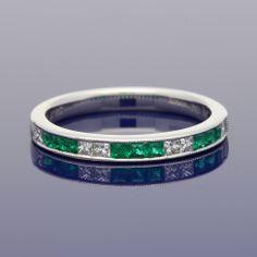 18ct Emerald & Diamond Eternity Ring £1,050.00 Wedding Bands, Our Wedding, Eternity Ring Diamond, Gold Art, Emerald Diamond, Metal, Rings, Ring, Metals