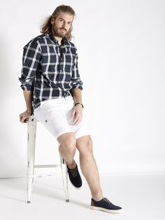 s.Oliver Navy Blue Checked Casual Shirt
