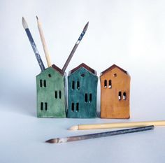 Inspired by Warsaw old town. Tin house ceramic candle and pencil holders.  House candle holders hand built by me from terracota and decorated with glazes.