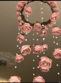 Finest 100% wool pale blush pink Felt flower mobile roses | Etsy