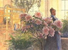 Azalea, by Carl Larsson (1906), shows Karin Larsson with her flowers. The handloom that she used for her textile designs is in the background.