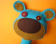 Bear Plush Felt Huggable Doll  Large Blue Bear by eleventhmonkey, $13.50