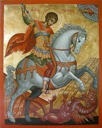 Saint George the Great Martyr of Syria Orthodox Icon Byzantine Icons, Byzantine Art, Religious Icons, Religious Art, Printable Images, Saint George And The Dragon, Religion, Art Icon, Orthodox Icons
