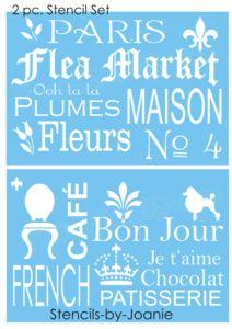 753 STENCIL Paris Flea Market Typography Art Decor Fleur Shabby Cafe sign