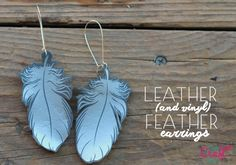 leather (and vinyl) feather earrings