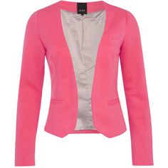 ICHI Blazer Soga Neon Pink (€35) ❤ liked on Polyvore featuring outerwear, jackets, blazers, tops, casacos, neon pink blazer, faux-leather jacket, pink blazer jacket, neon pink jacket and pink jacket