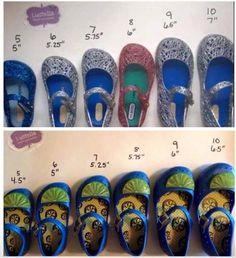 Mini Melissa Size Chart | Mini Melissa Shoes | Pinterest | Melissa ...