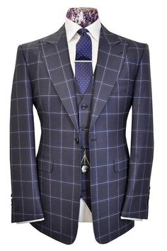The Morgan French Navy with Cobalt Blue Overcheck - William Hunt Savile Row  - 1