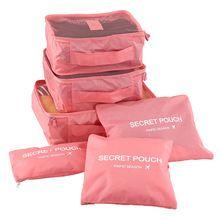 6 pçs/set Moda Duplo Zíper de Poliéster Impermeável Homens e Mulheres Bagagem Sacos de Viagem de cubos de embalagem(China (Mainland))
