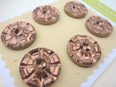 6 x Vintage Black Glass Buttons With Bronze by FireHorseVintageHQ