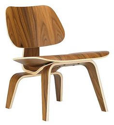 """Designed in 1946, the Eames Molded Plywood Chair has been called """"The Most Famous Chair of The Century."""" This chair's natural contours are designed to fit the body comfortably. Herman Miller still produces this chair."""