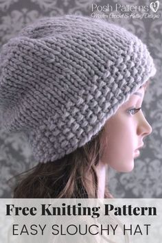 Crochet Beanie Design Easy Slouchy Hat Knitting Pattern - This free and easy slouchy hat knitting pattern makes a beautiful and elegant accessory for kids, adults, men, and women. Chunky Knitting Patterns, Free Knitting, Free Crochet, Knit Crochet, Crochet Patterns, Loom Knitting, Crochet Ideas, Knitting Tutorials, Knitting Machine