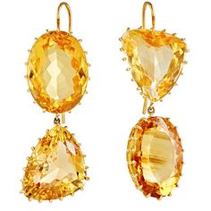 Renee Lewis Women's Mismatched Citrine Double-Drop Earrings ($10,000) ❤ liked on Polyvore featuring jewelry, earrings, colorless, rectangle earrings, triangle jewelry, hook earrings, clear crystal earrings and orange jewelry