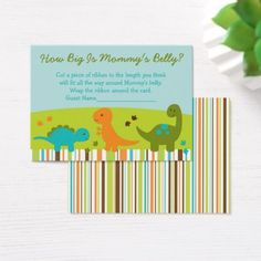 Dinosaur How Big Is Mommy's Belly Game Business Card - baby shower ideas party babies newborn gifts