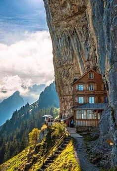 Berggasthaus Aescher-Wildkirchlil (restaurant/inn), Appenzellerland, Switzerland - Reasons why Switzerland Will Rock Your World! Places Around The World, Oh The Places You'll Go, Places To Travel, Places To Visit, Around The Worlds, Travel Destinations, Wonderful Places, Great Places, Beautiful Places
