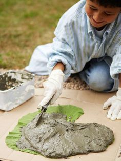 how to make a garden path from zucchini or other large leaves and cement.    http://www.hgtv.com/gardening/how-to-make-a-decorative-garden-path/index.html