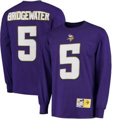 Teddy Bridgewater Minnesota Vikings Eligible Receiver II Name and Number Long Sleeve T-Shirt - Purple