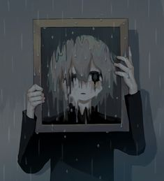 Japanese Illustrator Gives Thought-Provoking Chills With Haunting Artwork Dark Art Illustrations, Illustration Art, Sad Anime, Anime Art, Sun Projects, Arte Obscura, Vent Art, Sad Wallpaper, Cartoon Wallpaper