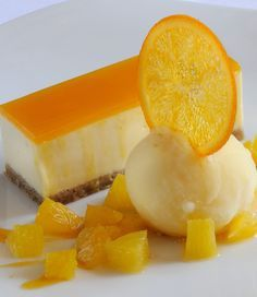 Matthew Tomkinsons recipe for passion fruit and white chocolate cheesecake will impress any guest. The orange sorbet adds a wonderful freshness to this decadent dessert, and is guaranteed to please. Fancy Desserts, Delicious Desserts, Yummy Food, Dessert Design, Chocolates Gourmet, Baking Recipes, Dessert Recipes, Baking Ideas, Masterchef Recipes