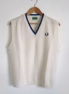 Vintage Men's 1960s Cream Fred Perry Sleeveless Tank Top - Large available to buy online at Virtual Vintage Clothing