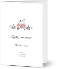 Bryllupsprogram til bryllup Place Cards, Place Card Holders, Wedding Ideas, Wedding Ceremony Ideas