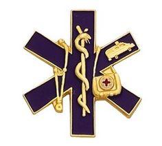 Collar Brass Paramedic Firefighter Lapel Silver Star of Life